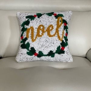Hand stitched homemade Noel Christmas Pillow